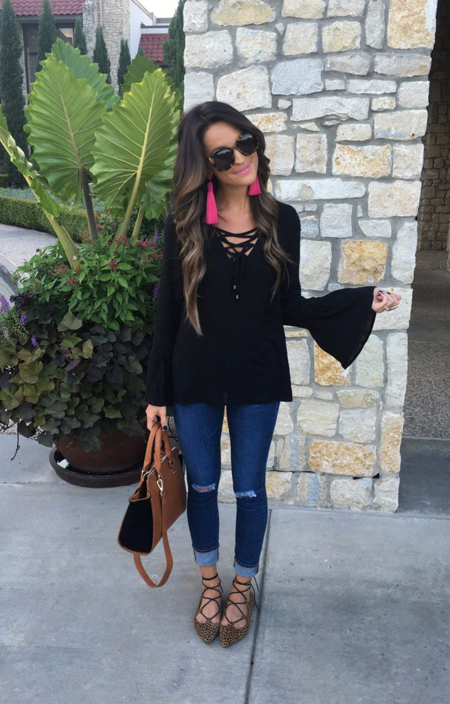 Lace Up Bell Sleeve Blouse - Black Tops- Tristin