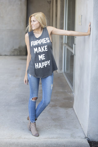 Puppies, Wine and I'm Fine Tank - Black