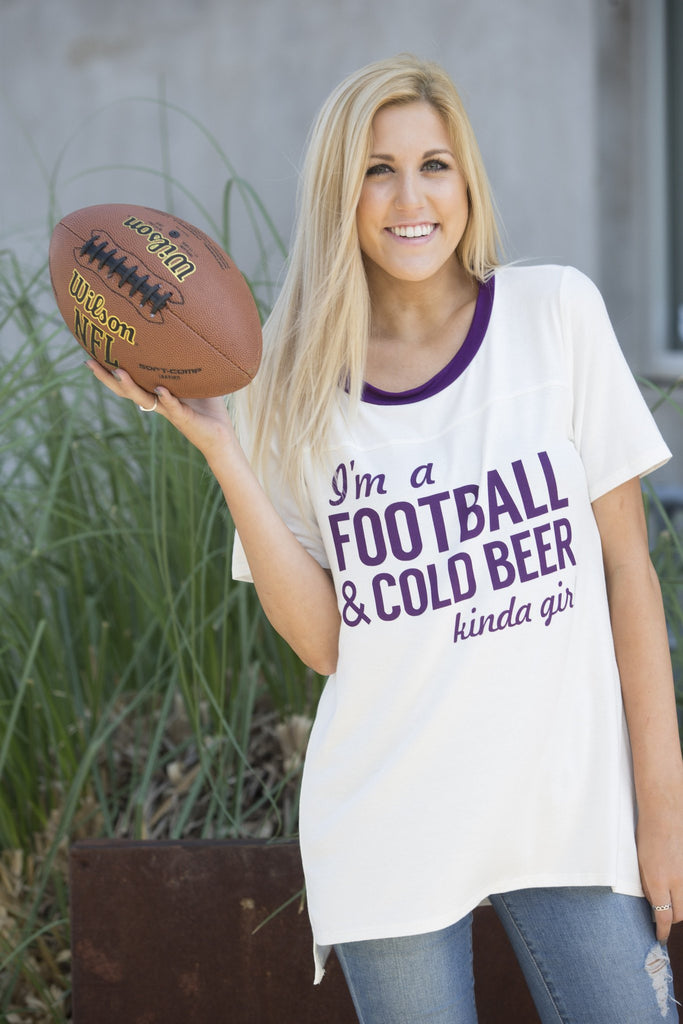 Football and Cold Beer Ringer Tee Tops- Tristin