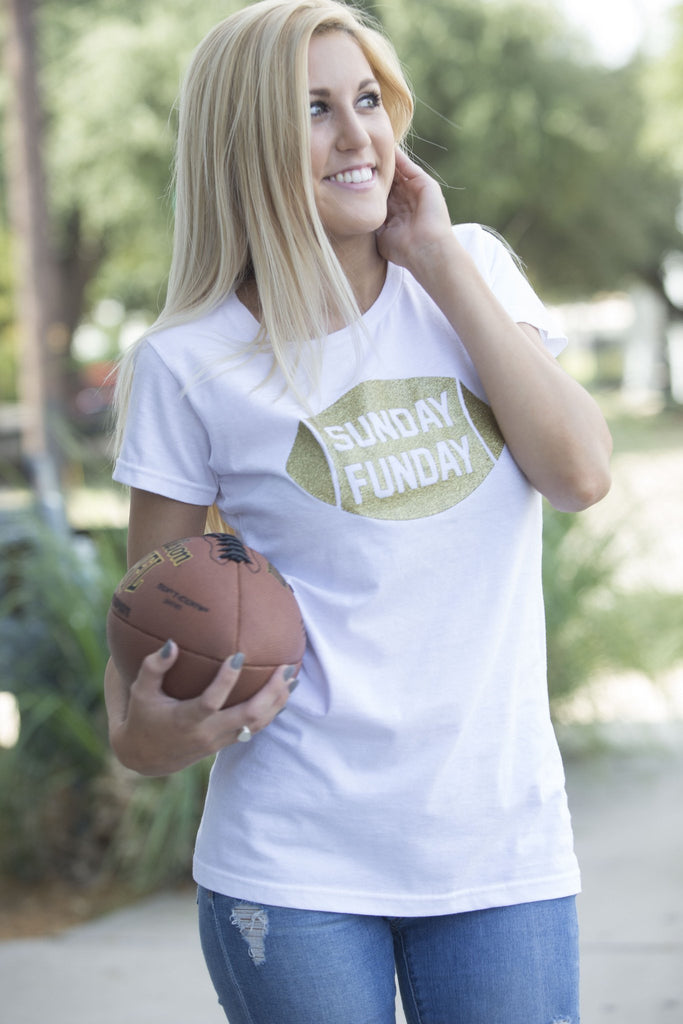 Sunday Funday Football Graphic Tee Tops- Tristin