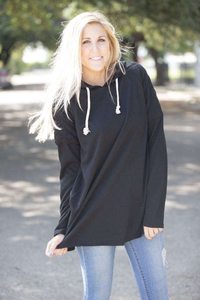 Quilted Shoulder Hooded Sweatshirt Tops- Tristin