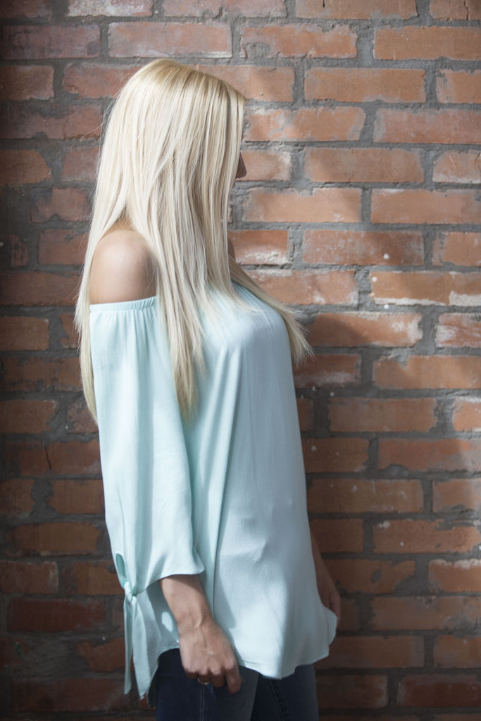 Off the Shoulder Tie Sleeve Top Tops- Tristin