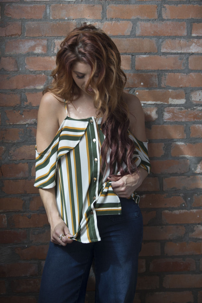 Kristin Striped Cold Shoulder Top - Mustard Tops- Tristin