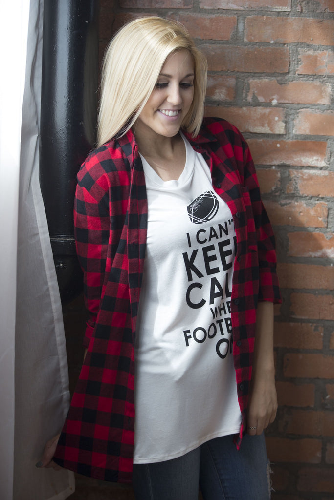 I Can't Keep Calm When Football is on Graphic Tee Tops- Tristin