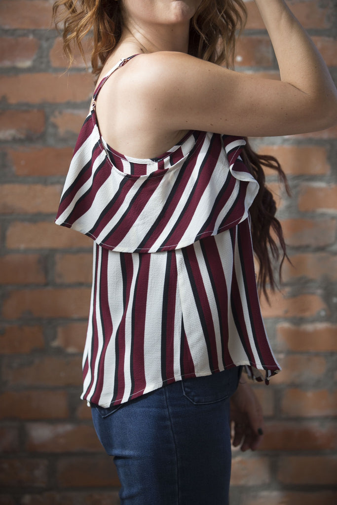 Kristin Striped Cold Shoulder Top - Burgundy Tops- Tristin