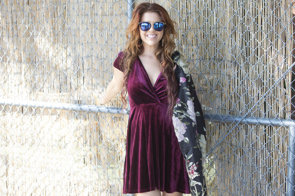 Burgundy Wine V Neck Velvet Fit N Flare Dress Dresses- Tristin