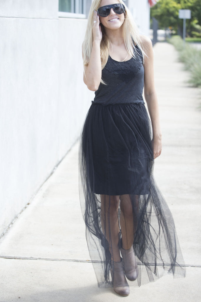 Black Lace Top Tulle Maxi Slip Dress Dresses- Tristin