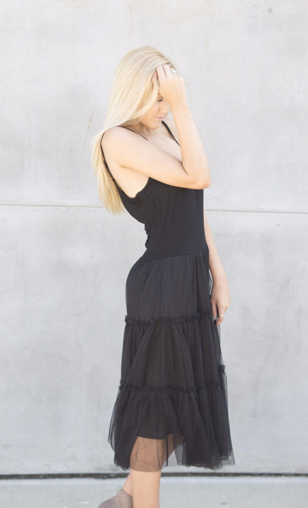 Tiered Tulle Slip Midi Dress - Black Dresses- Tristin