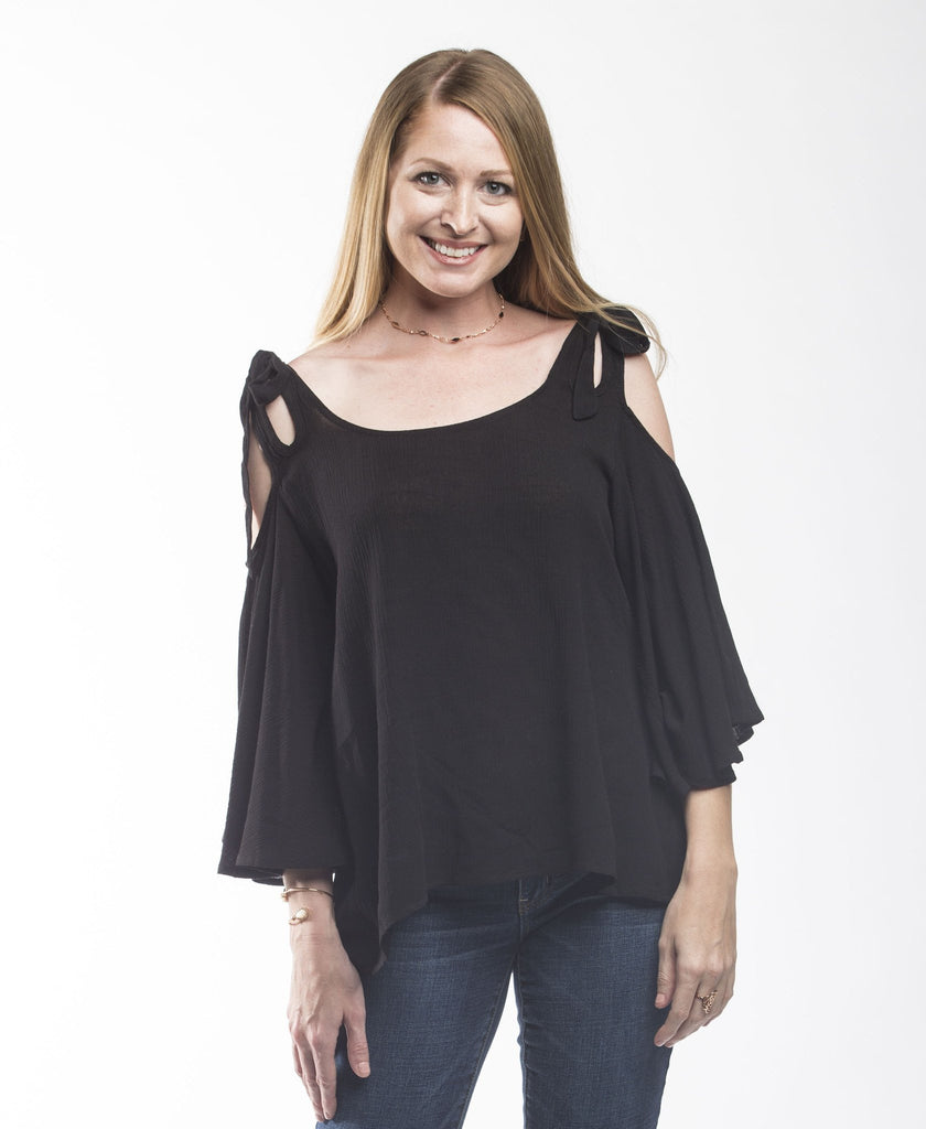 Hayden Cold Shoulder Bell Sleeve Top Tops- Tristin