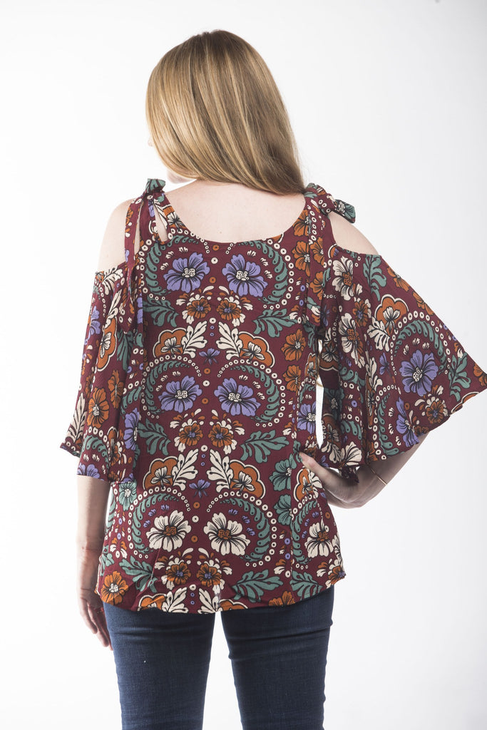 Flower Child Cold Shoulder Blouse Tops- Tristin