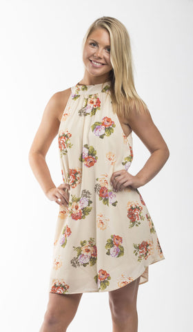 Laura Lace Up Floral Peasant Dress