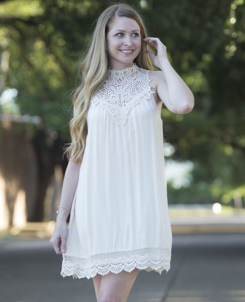 Wedding Time Mockneck Off White Lace Dress Dresses- Tristin