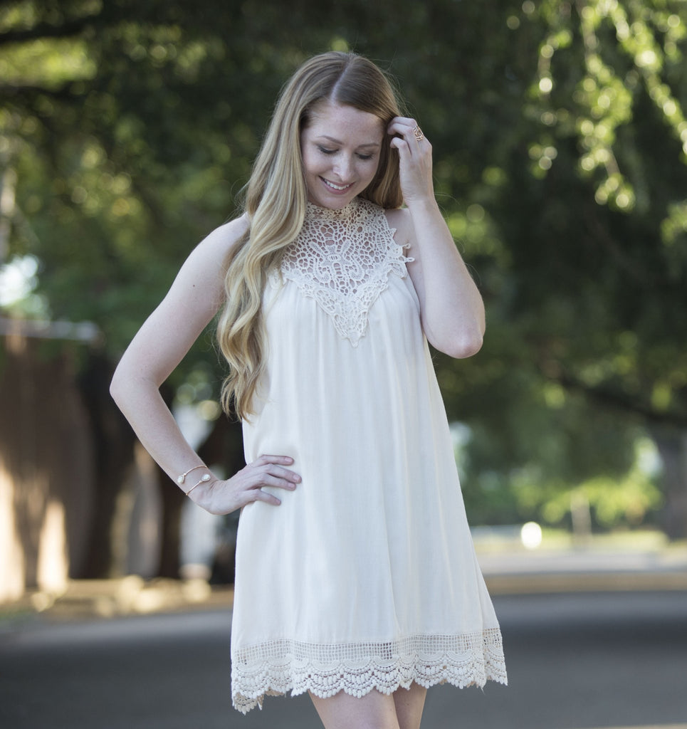 Mockneck Lace Dress Dresses- Tristin
