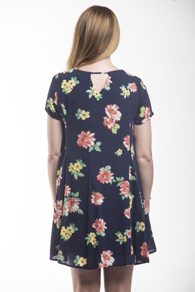 Navy Floral Swing A-line Dress Dresses- Tristin