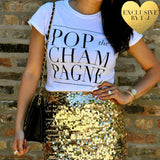 Pop the Champagne Graphic Tee Tops- Tristin