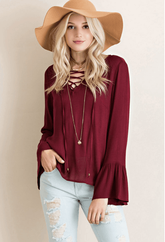 Lace up Bell Sleeve Dress - Wine