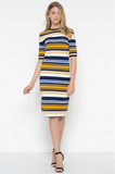 Stripe Midi Bodycon Dress Dresses- Tristin
