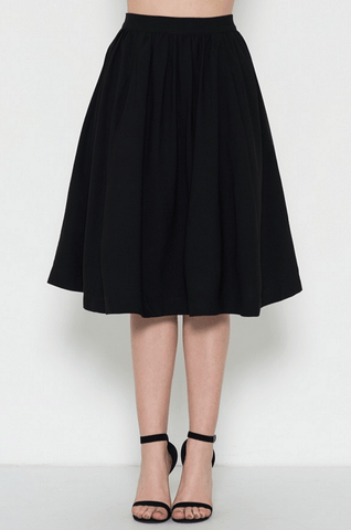 Faux Silk High Low Wrap Skirt - Black