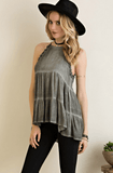 Tiered Halter Tank Tops- Tristin