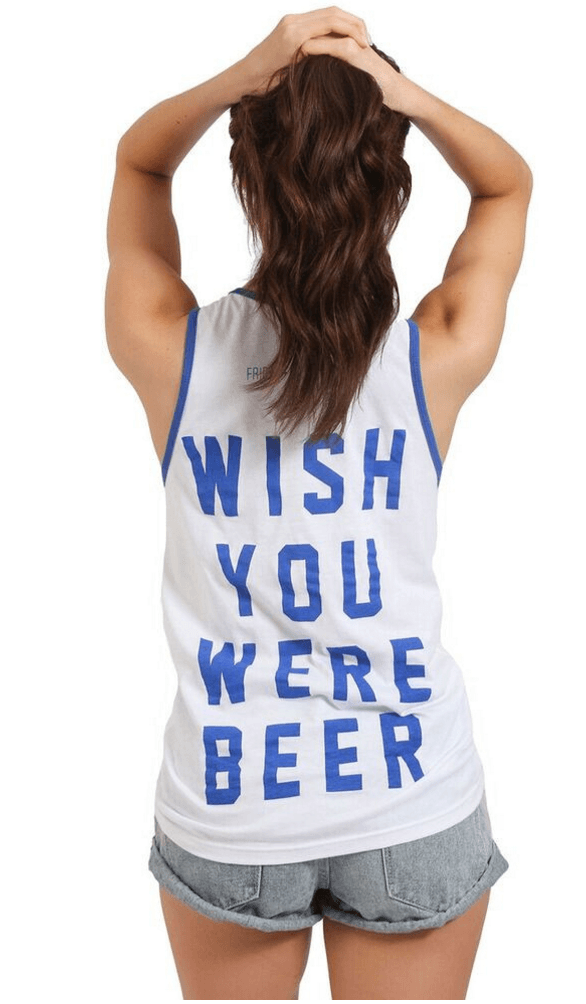 Wish You Were Beer Graphic Tank Tops- Tristin