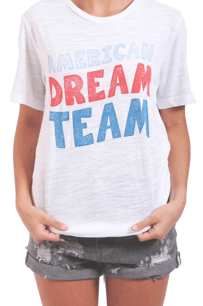 Friday + Saturday American Dream Team Graphic Tee Tops- Tristin