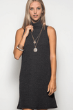Sleeveless Turtleneck Sweater Dress Dresses- Tristin