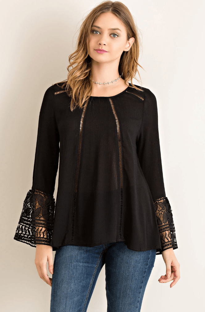 Crochet Sleeve Top Tops- Tristin