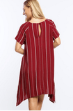 Burgundy Stripe Shift Sharkbite Hem Dress Dresses- Tristin
