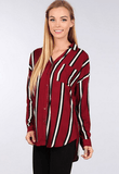 Jenna Oversized Button Front Stripe Tunic Top Tops- Tristin