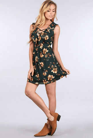 Cold Shoulder Floral Dress with Pockets