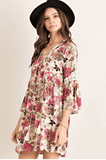 Laura Lace Up Floral Peasant Dress Dresses- Tristin