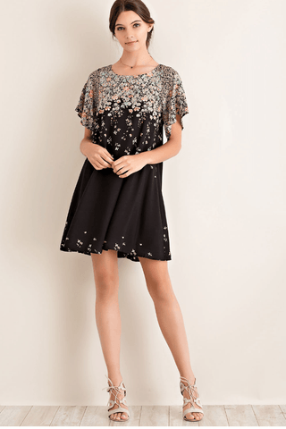 Feather Babydoll Chiffon Dress