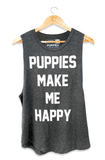 Puppies Make Me Happy Tank - Charcoal Tops- Tristin