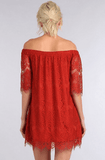 Queen Ann's Lace Off the Shoulder Tunic Dress Dresses- Tristin