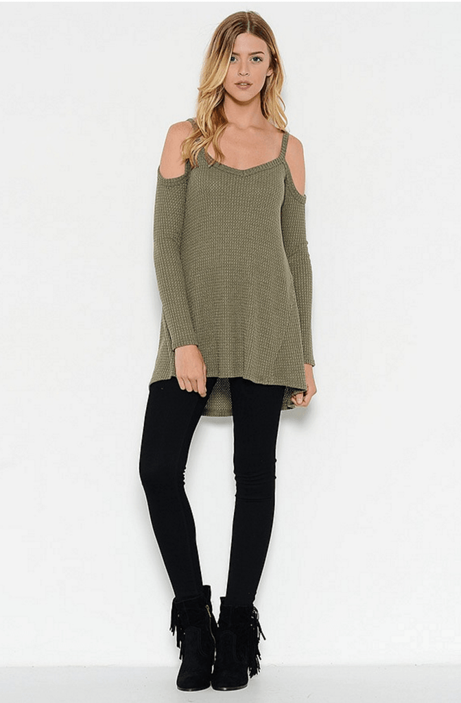 Cold Shoulder Thermal Waffle Top - Olive Tops- Tristin