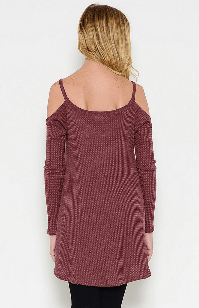 Cold Shoulder Thermal Waffle Top - Burgundy Tops- Tristin