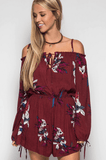 Off the Shoulder Floral Romper Romper- Tristin