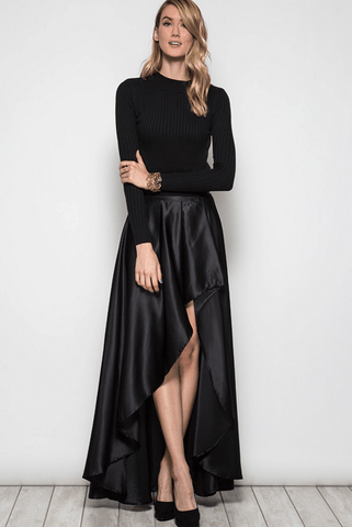 High Neck Open Back Maxi Dress Gown - Black