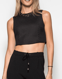 Textured Crop Top Tops- Tristin