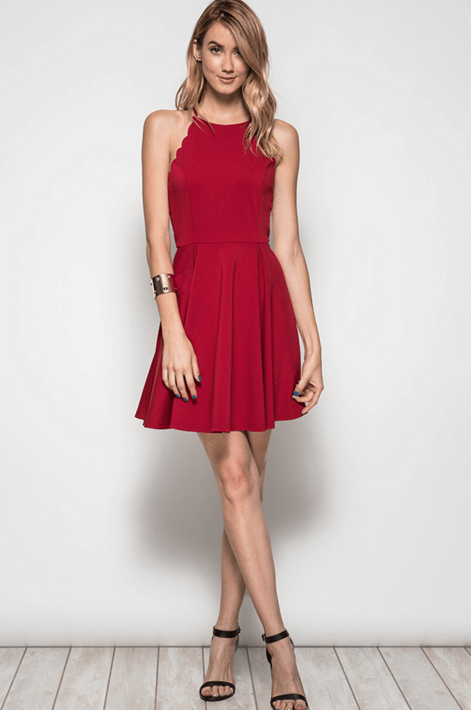 Scallop Fit n Flare Party Dress Dresses- Tristin