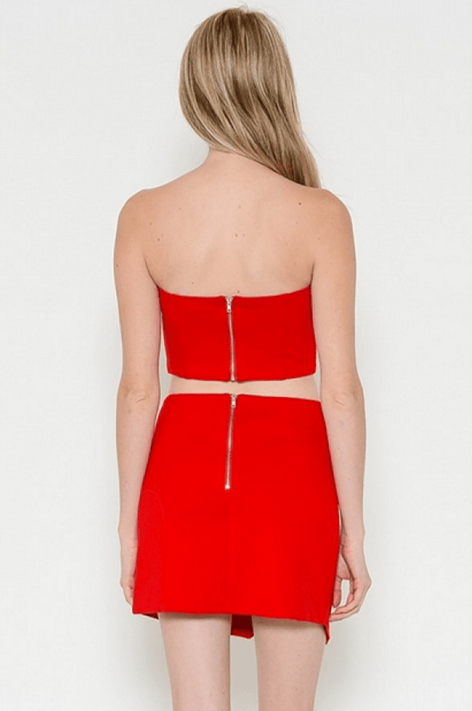 Red Crop Top and Mini Skirt Set Dresses- Tristin