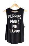 Puppies Make Me Happy Tank - Black Tops- Tristin