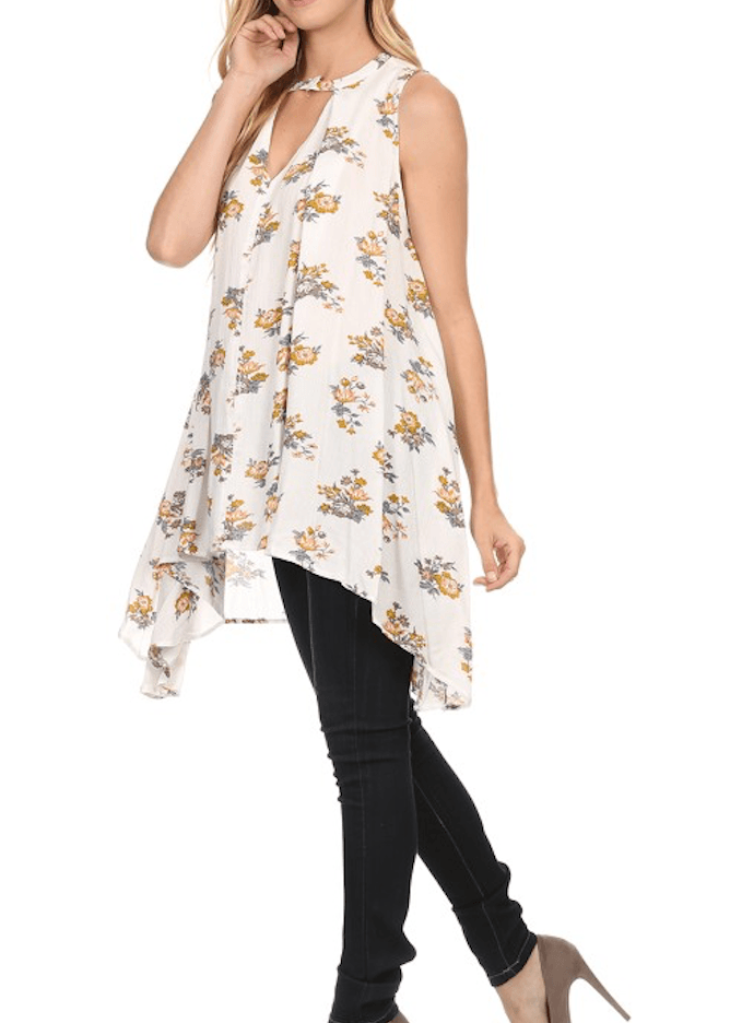 Choker Floral Sharkbite Tunic Dress Tops- Tristin