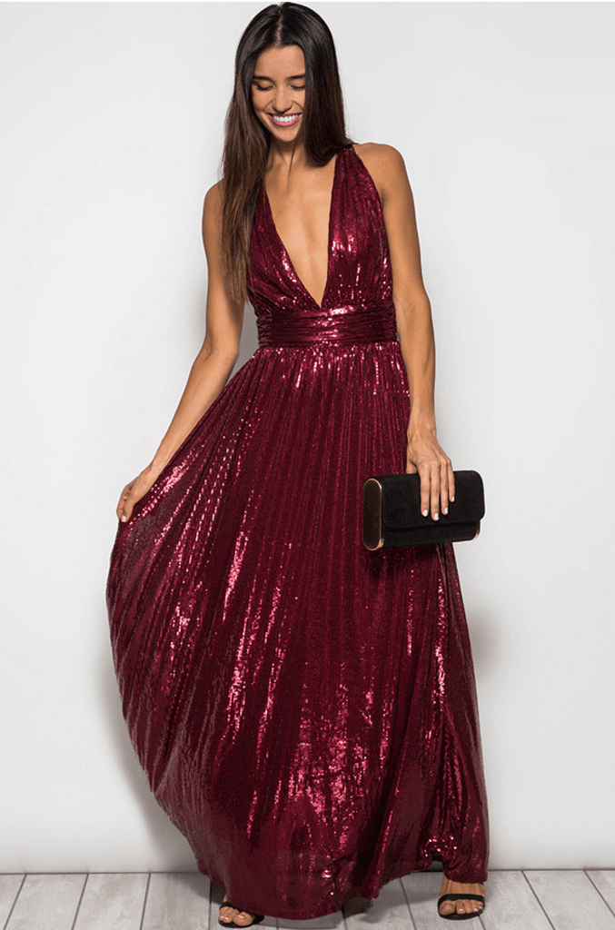 Deep V Sequin Maxi Party Dress - Burgundy Dresses- Tristin