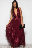 Deep V Sequin Maxi Party Dress - Wine Dresses- Tristin
