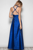 High Neck Open Back Maxi Dress Gown - Royal Blue Dresses- Tristin