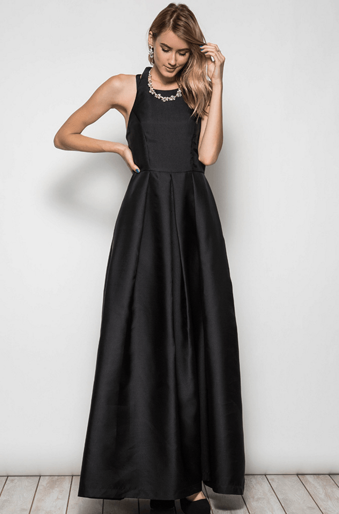 High Neck Open Back Maxi Dress Gown - Black Dresses- Tristin