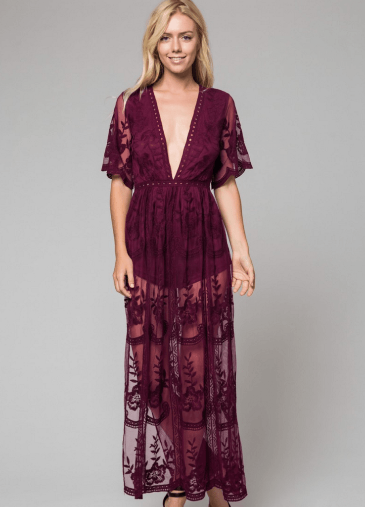 6ec2773d955 Burgundy Romper Maxi Dress with Embroidered Lace at ShopTristin.com –  Tristin