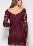 Long Sleeve Bodycon Lace Dress - Black Dresses- Tristin