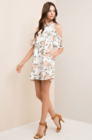 Floral High Neck Halter Babydoll Dress - Ivory